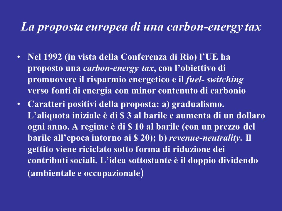 La proposta europea di una carbon-energy tax