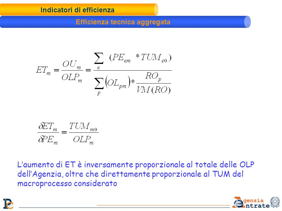 Indicatori di efficienza Efficienza tecnica aggregata