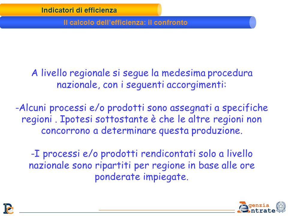 Indicatori di efficienza Il calcolo dell'efficienza: il confronto