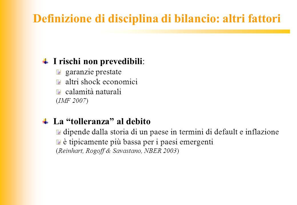 Definizione di disciplina di bilancio: altri fattori