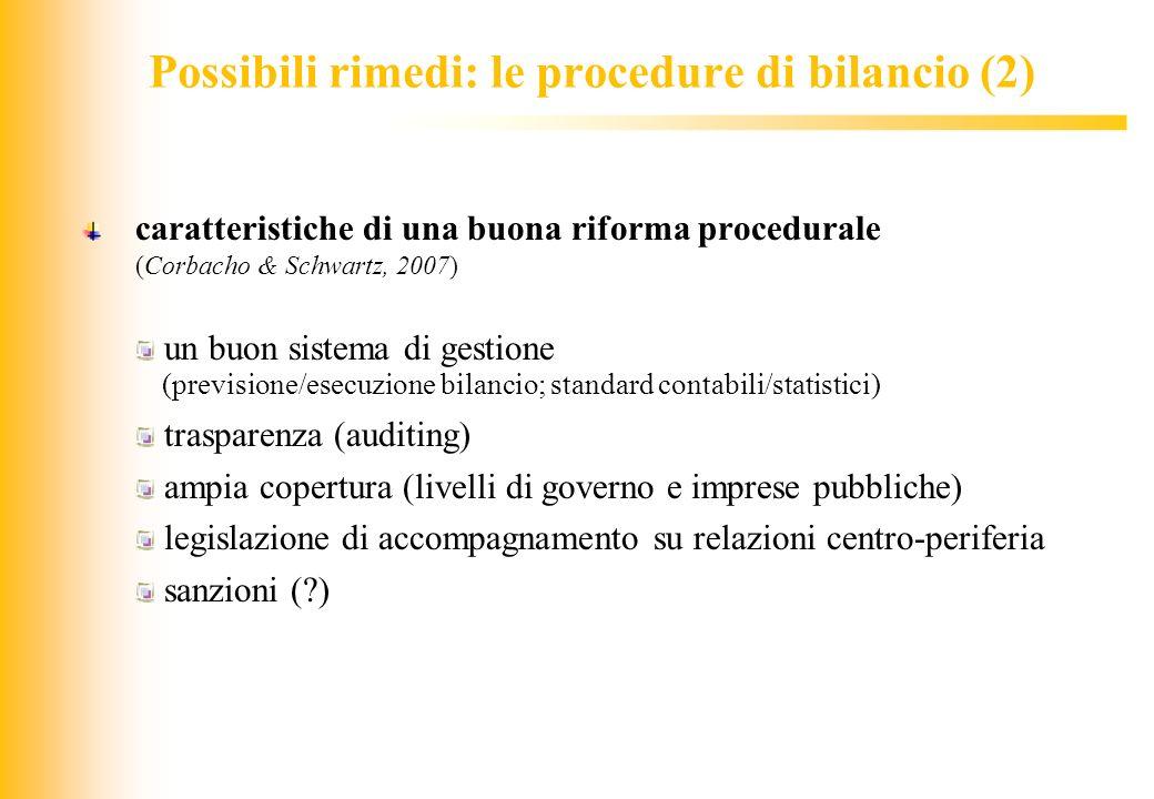 Possibili rimedi: le procedure di bilancio (2)