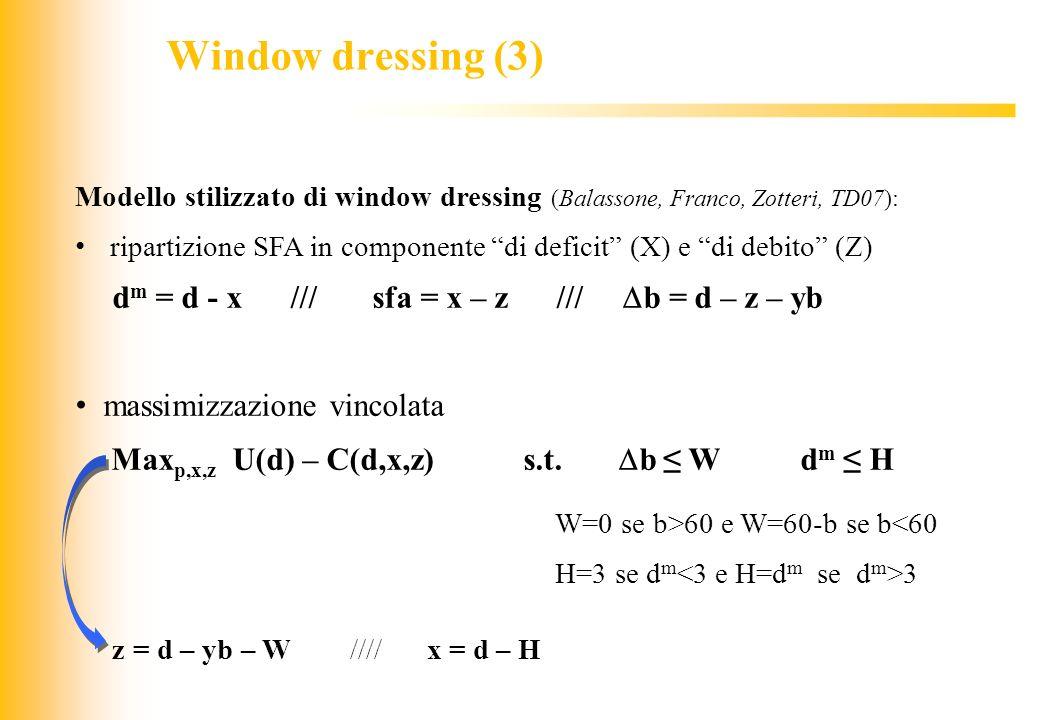 Window dressing (3) massimizzazione vincolata