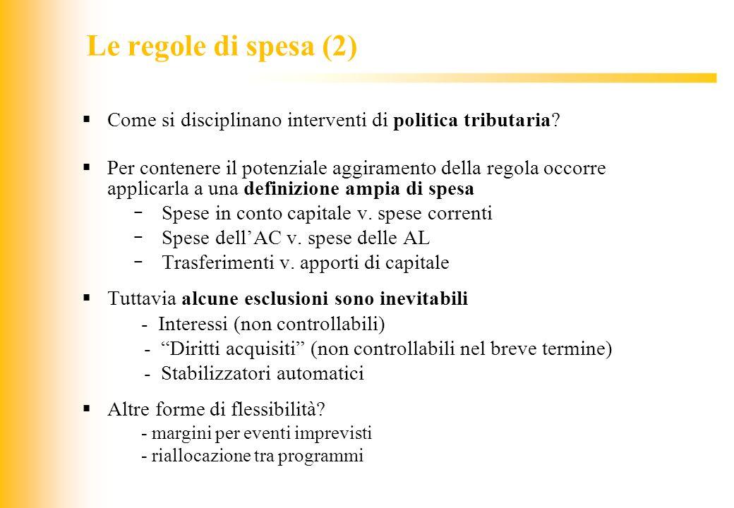 Le regole di spesa (2) Come si disciplinano interventi di politica tributaria