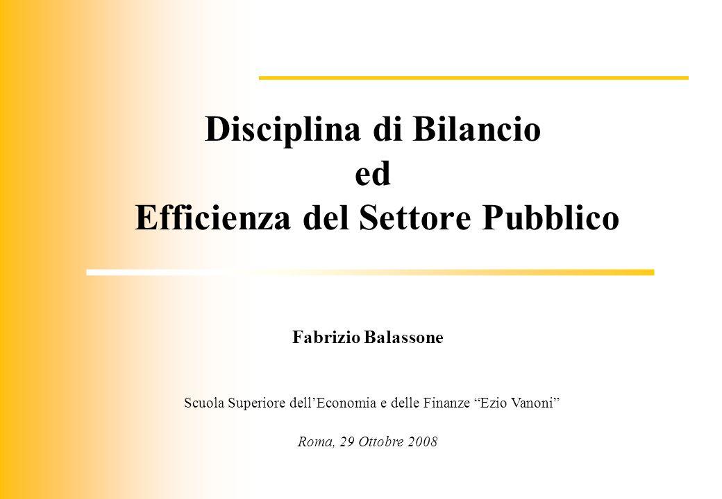Disciplina di Bilancio Efficienza del Settore Pubblico