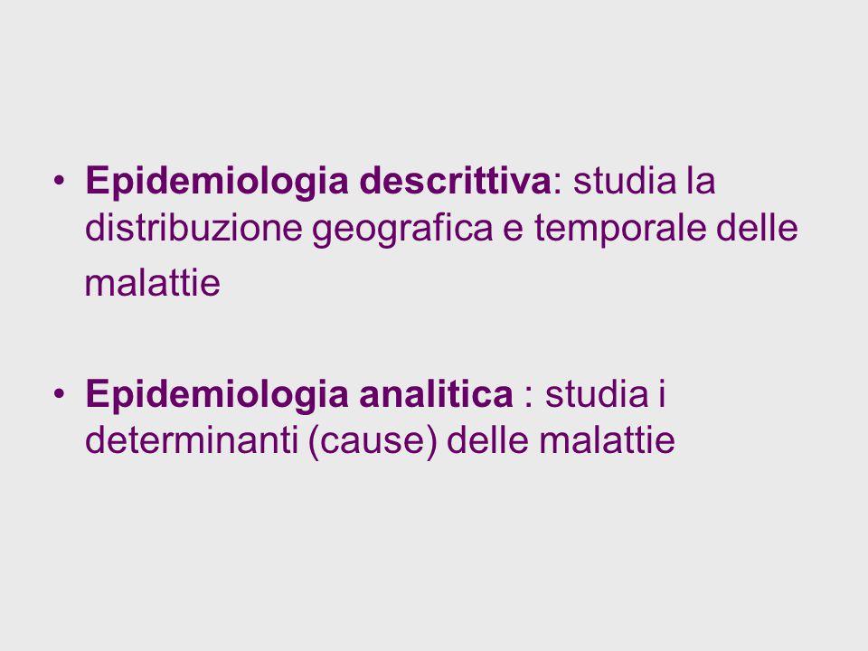 Epidemiologia descrittiva: studia la distribuzione geografica e temporale delle