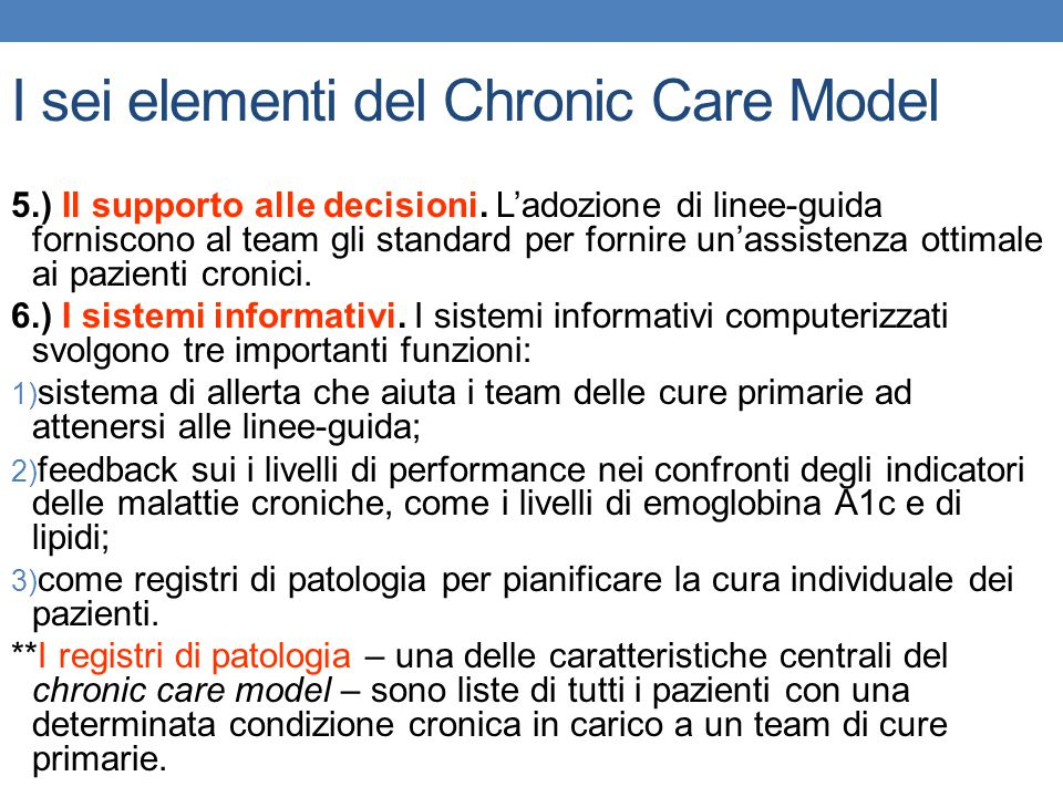 I sei elementi del Chronic Care Model