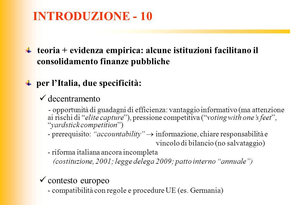 INTRODUZIONE - 10 teoria + evidenza empirica: alcune istituzioni facilitano il. consolidamento finanze pubbliche.