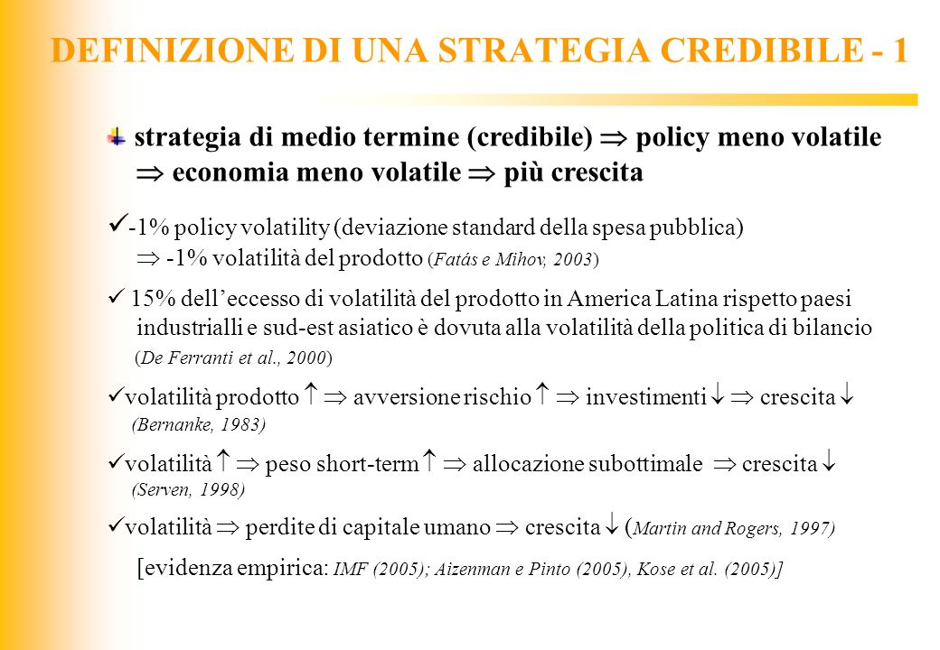 DEFINIZIONE DI UNA STRATEGIA CREDIBILE - 1