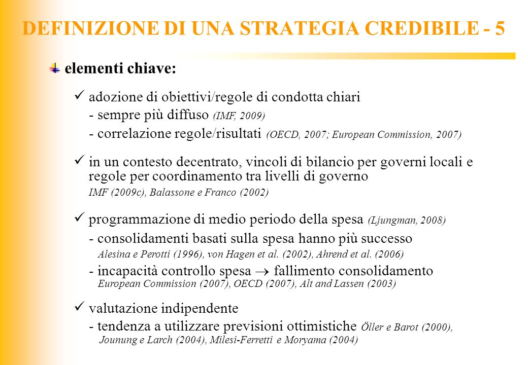 DEFINIZIONE DI UNA STRATEGIA CREDIBILE - 5