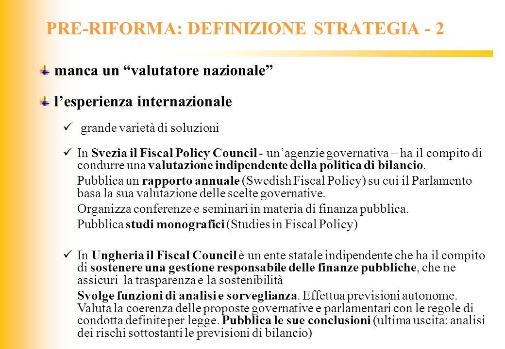 PRE-RIFORMA: DEFINIZIONE STRATEGIA - 2
