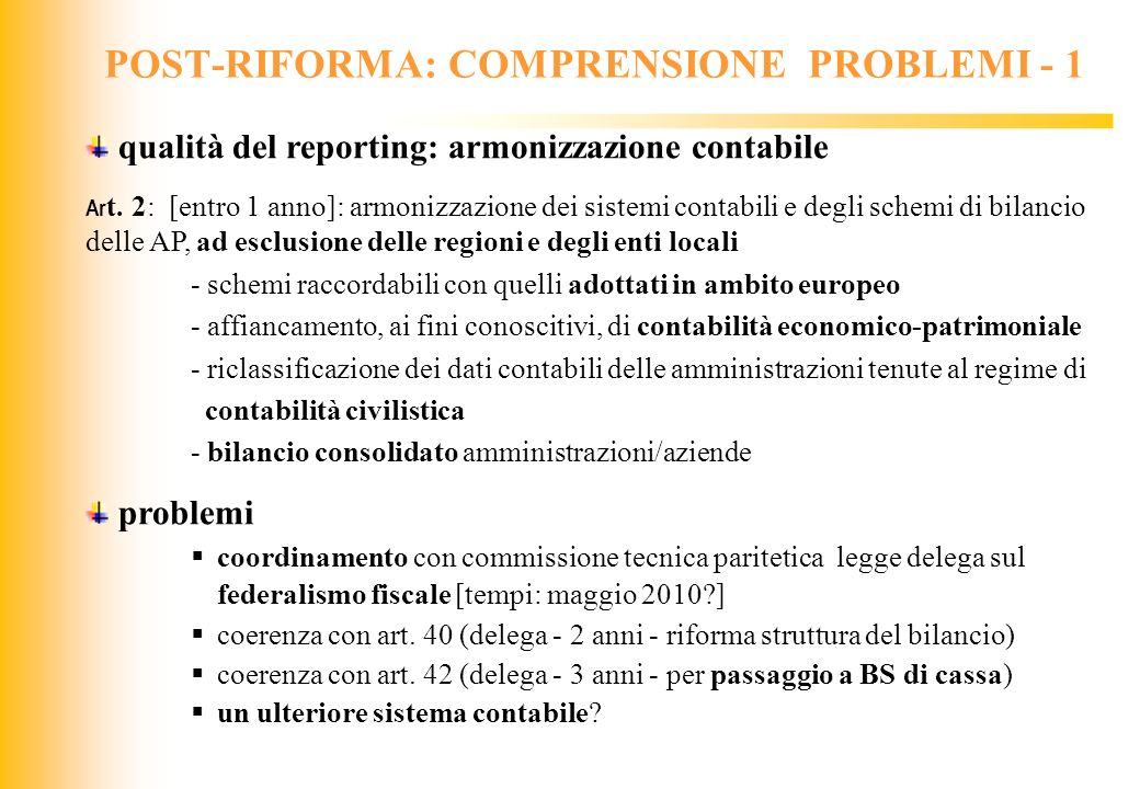 POST-RIFORMA: COMPRENSIONE PROBLEMI - 1
