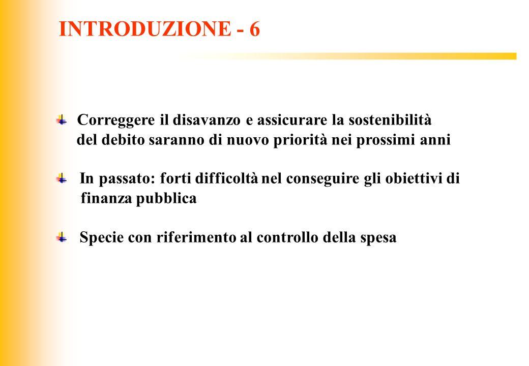 INTRODUZIONE - 6 Correggere il disavanzo e assicurare la sostenibilità