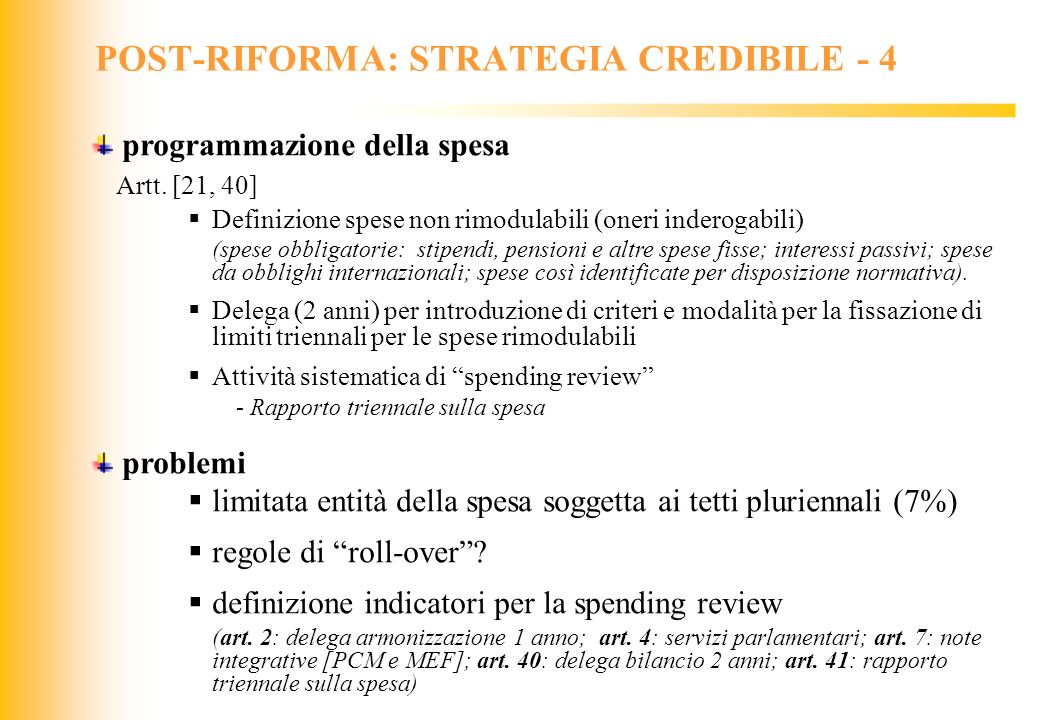 POST-RIFORMA: STRATEGIA CREDIBILE - 4