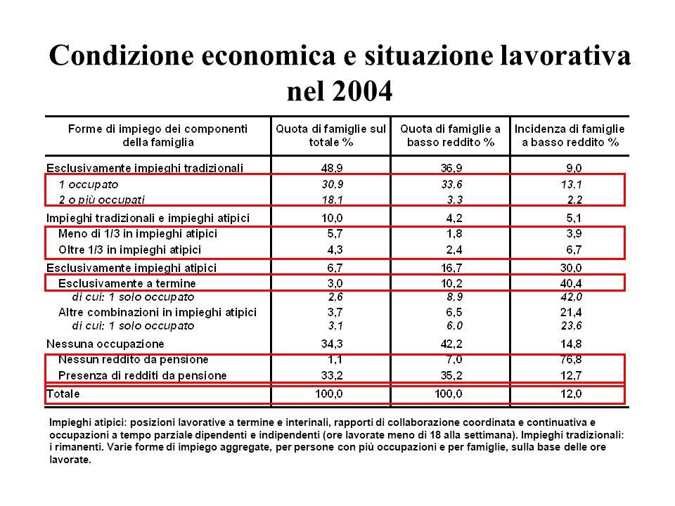 Condizione economica e situazione lavorativa nel 2004