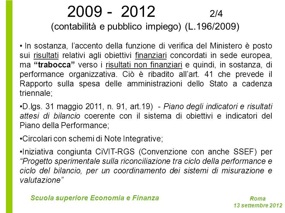 (contabilità e pubblico impiego) (L.196/2009)