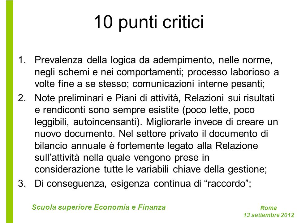 10 punti critici