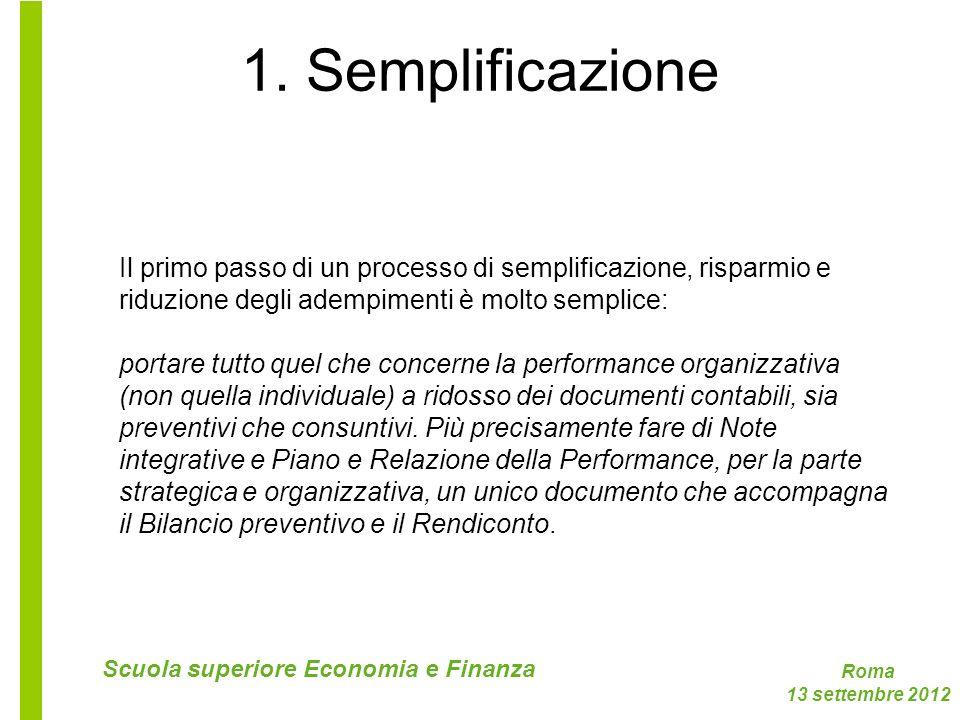 1. Semplificazione Il primo passo di un processo di semplificazione, risparmio e. riduzione degli adempimenti è molto semplice: