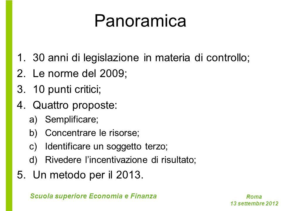 Panoramica 30 anni di legislazione in materia di controllo;