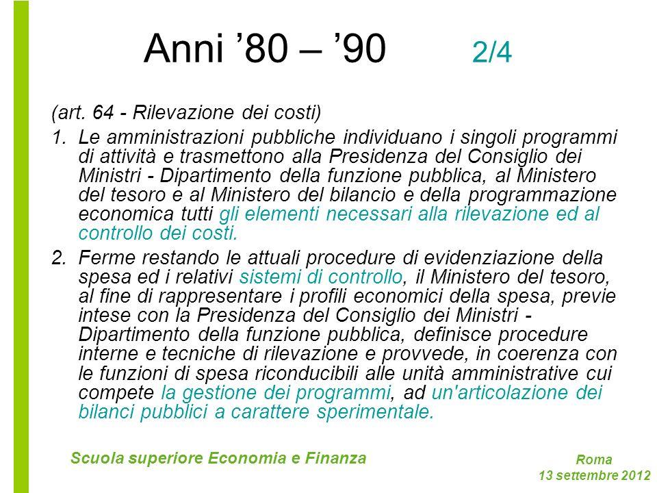 Anni '80 – '90 2/4 (art. 64 - Rilevazione dei costi)