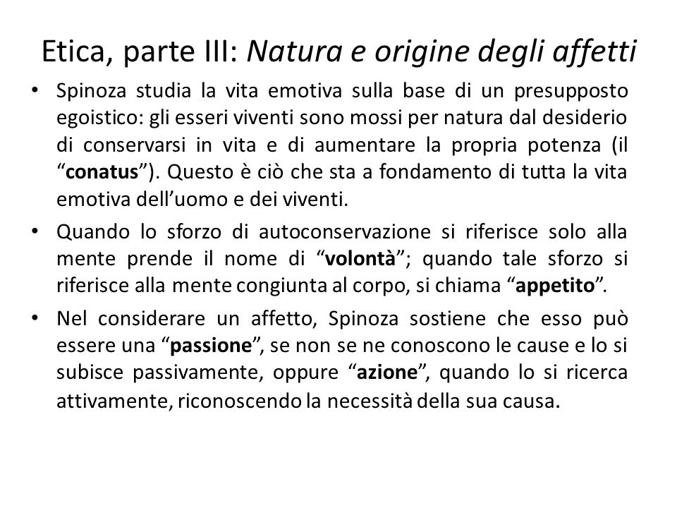 Etica, parte III: Natura e origine degli affetti