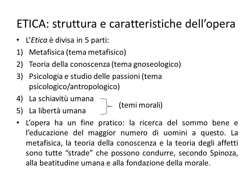 ETICA: struttura e caratteristiche dell'opera