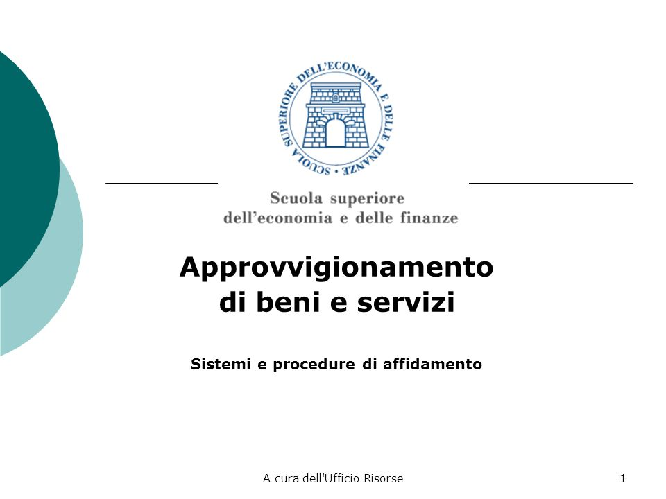 Sistemi e procedure di affidamento
