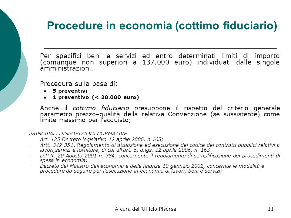 Procedure in economia (cottimo fiduciario)