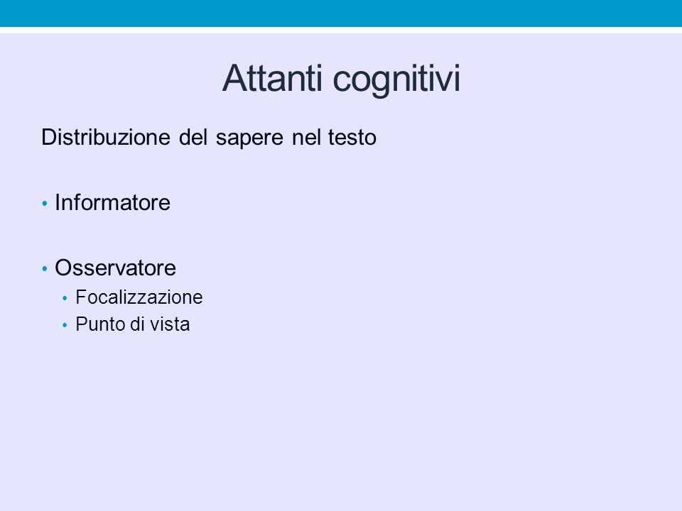 Attanti cognitivi Distribuzione del sapere nel testo Informatore