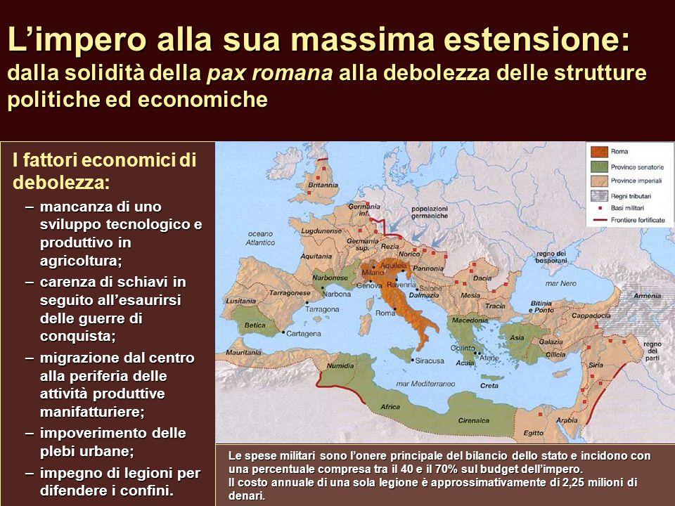 L'impero alla sua massima estensione: dalla solidità della pax romana alla debolezza delle strutture politiche ed economiche