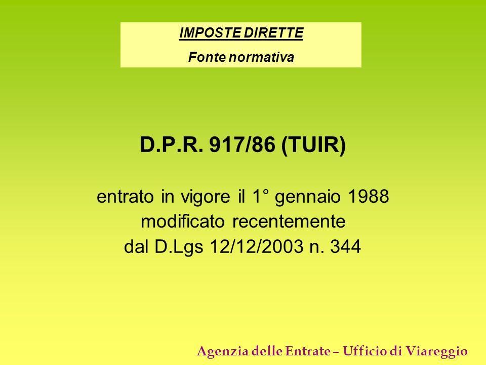 D.P.R. 917/86 (TUIR) entrato in vigore il 1° gennaio 1988