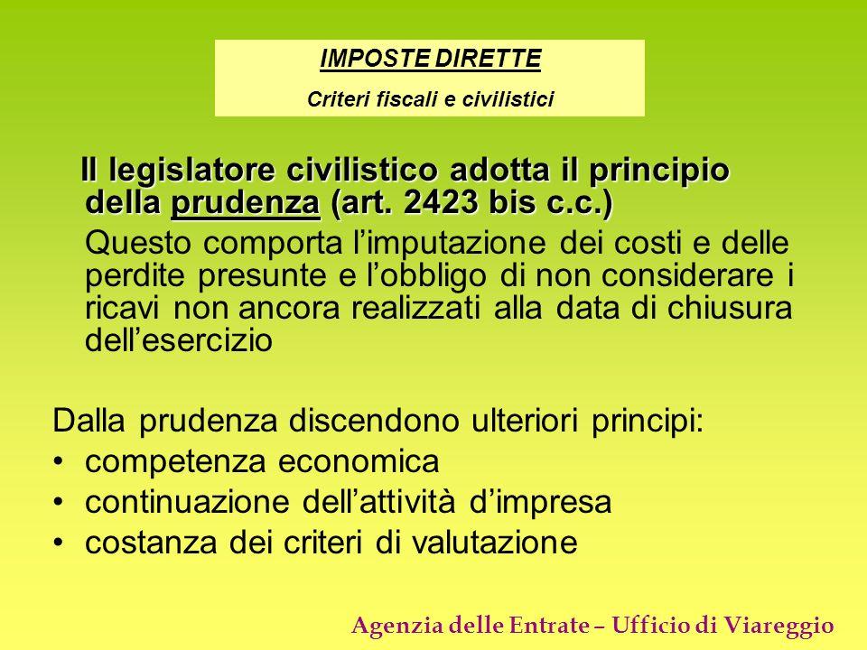 Criteri fiscali e civilistici