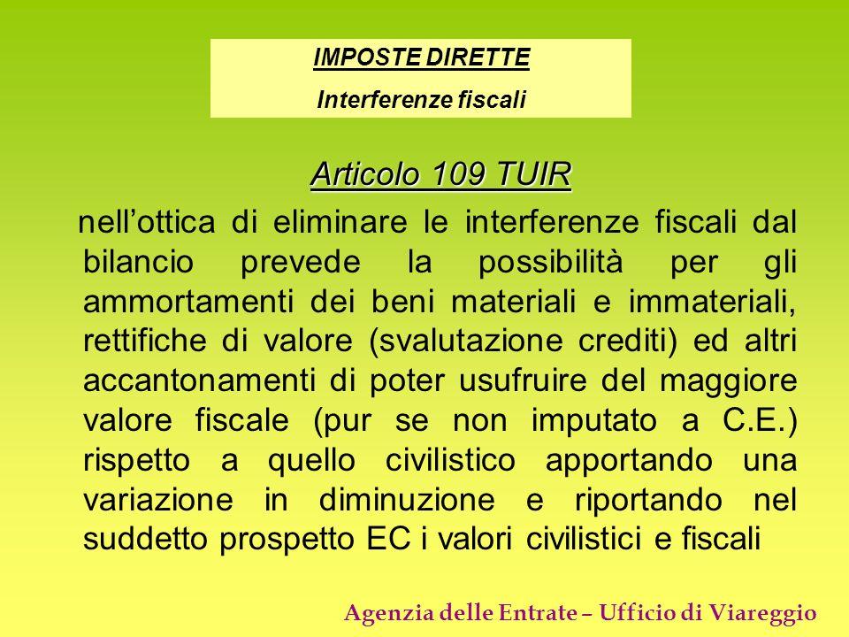 IMPOSTE DIRETTE Interferenze fiscali. Articolo 109 TUIR.