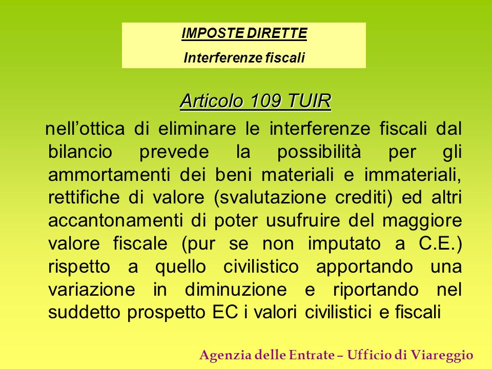 IMPOSTE DIRETTEInterferenze fiscali. Articolo 109 TUIR.