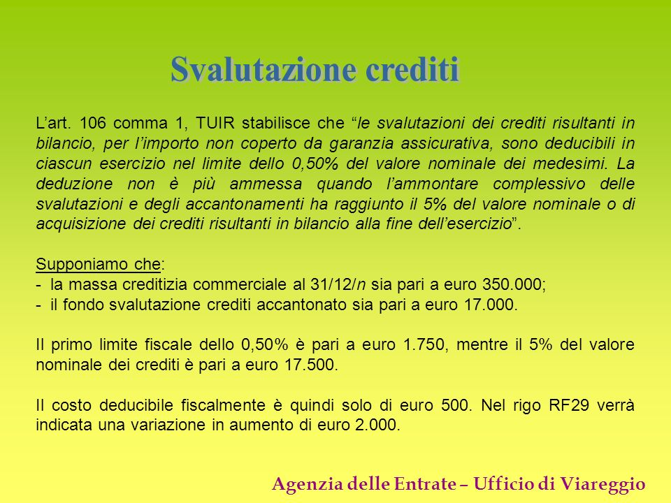 Svalutazione crediti