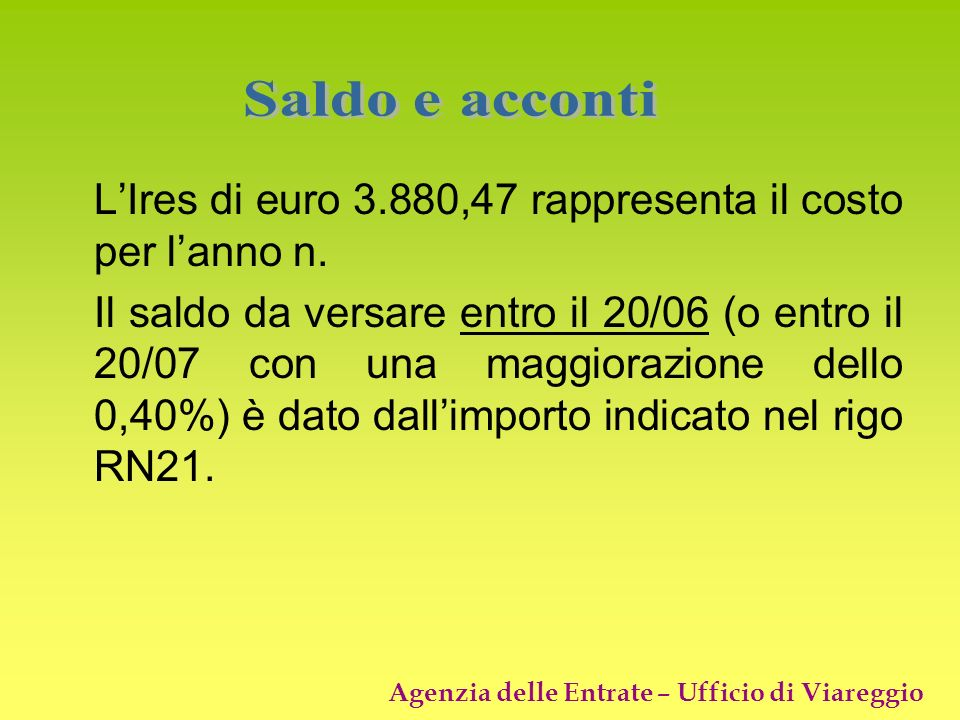 L'Ires di euro 3.880,47 rappresenta il costo per l'anno n.