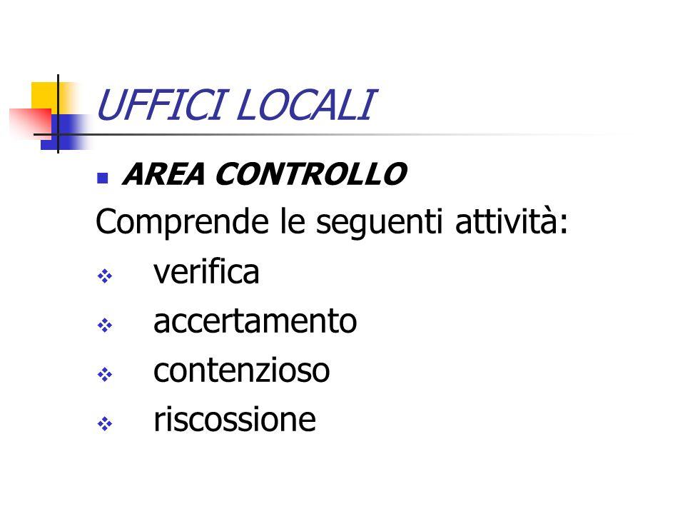 UFFICI LOCALI Comprende le seguenti attività: verifica accertamento