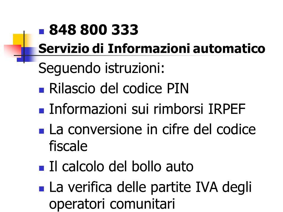 Rilascio del codice PIN Informazioni sui rimborsi IRPEF