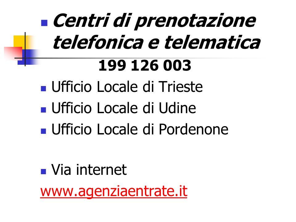 Centri di prenotazione telefonica e telematica