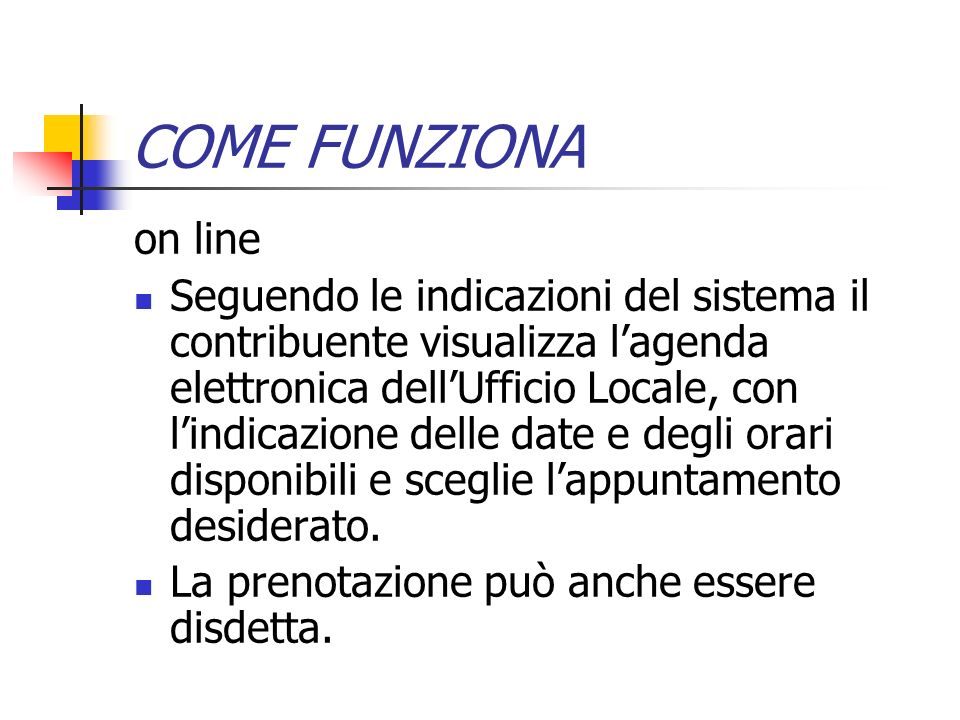 COME FUNZIONA on line.
