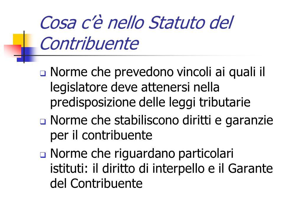 Cosa c'è nello Statuto del Contribuente