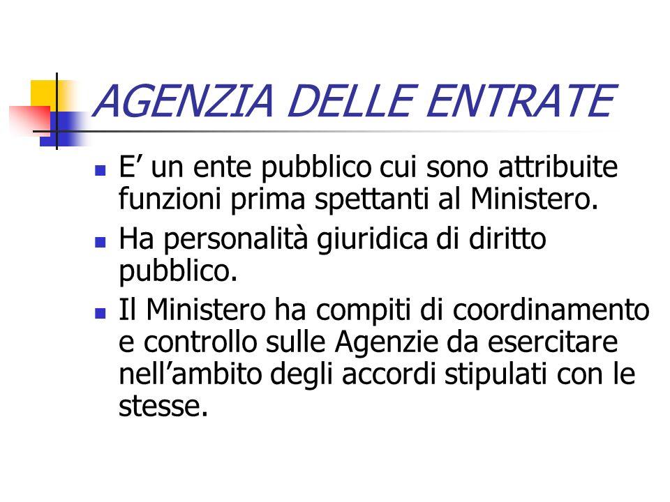 AGENZIA DELLE ENTRATE E' un ente pubblico cui sono attribuite funzioni prima spettanti al Ministero.