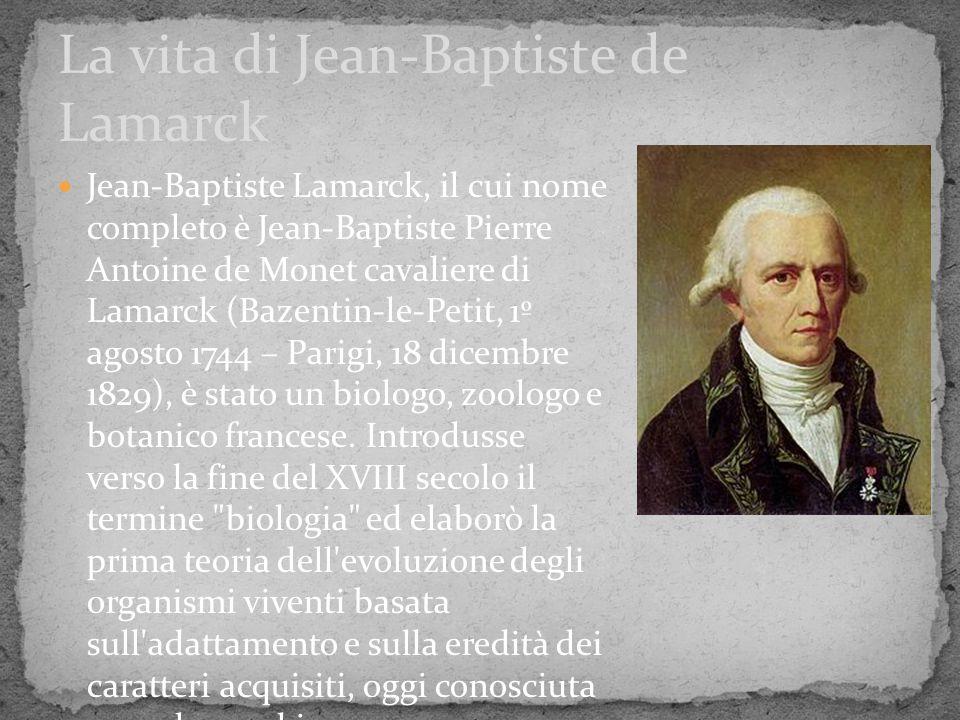 La vita di Jean-Baptiste de Lamarck