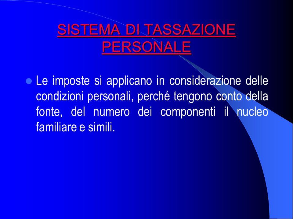 SISTEMA DI TASSAZIONE PERSONALE