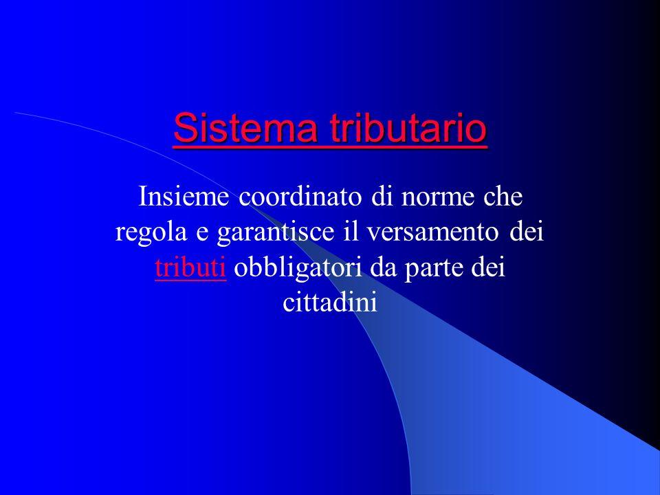 Sistema tributario Insieme coordinato di norme che regola e garantisce il versamento dei tributi obbligatori da parte dei cittadini.
