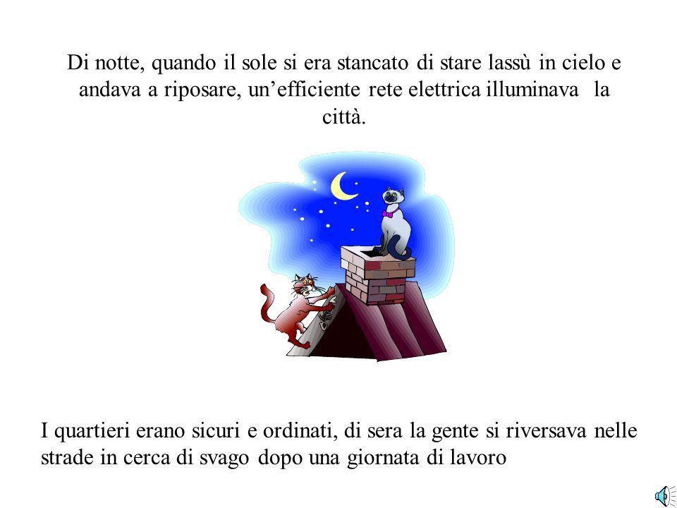 Di notte, quando il sole si era stancato di stare lassù in cielo e andava a riposare, un'efficiente rete elettrica illuminava la città.