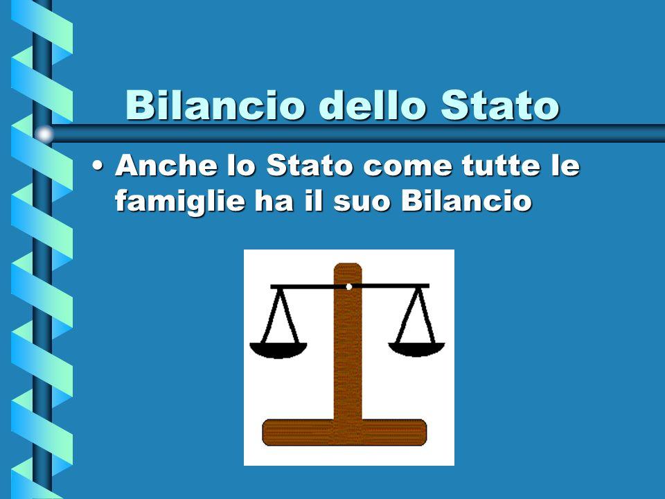 Bilancio dello Stato Anche lo Stato come tutte le famiglie ha il suo Bilancio