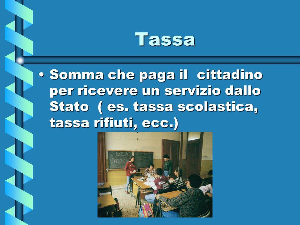Tassa Somma che paga il cittadino per ricevere un servizio dallo Stato ( es.