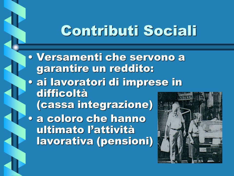 Contributi Sociali Versamenti che servono a garantire un reddito: