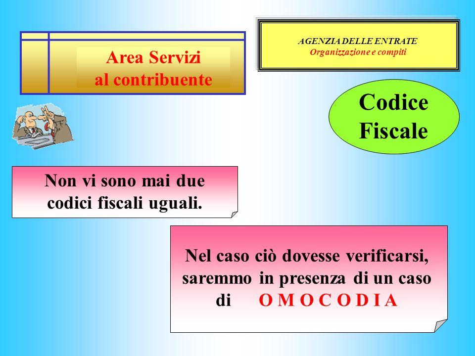 Organizzazione e compiti Non vi sono mai due codici fiscali uguali.