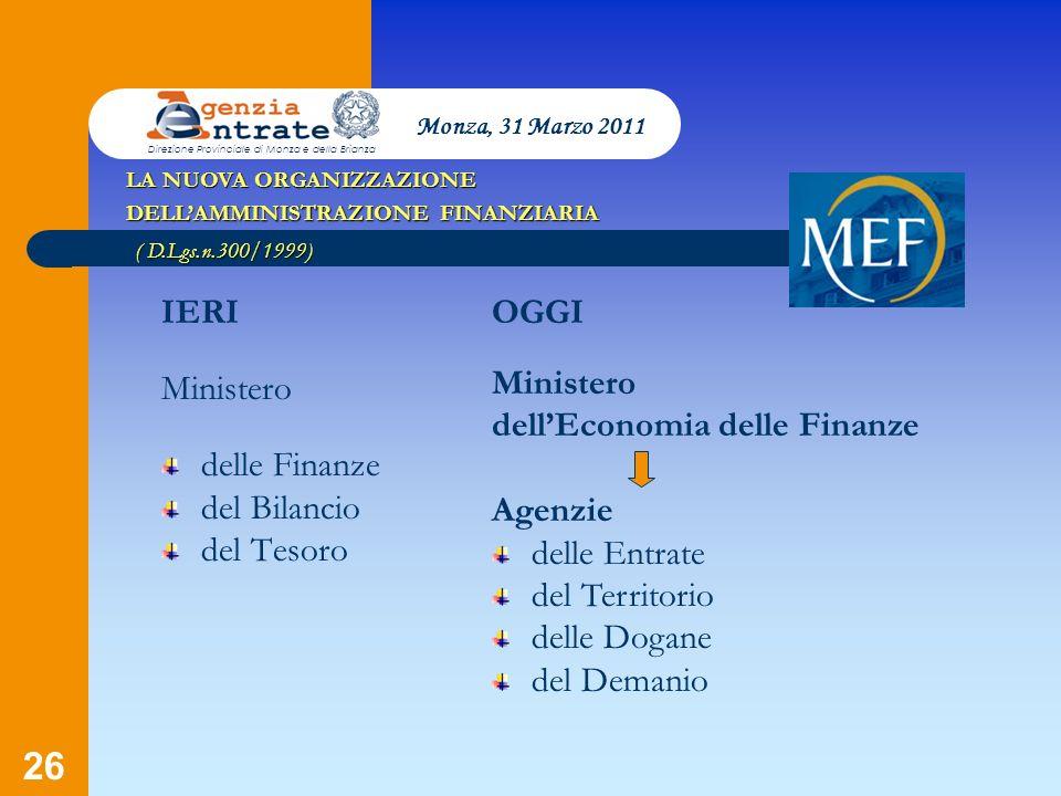 dell'Economia delle Finanze Agenzie delle Entrate del Territorio
